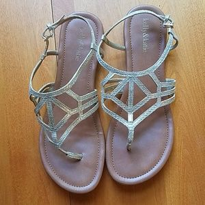 Kelly & katie gold sandals, size 10